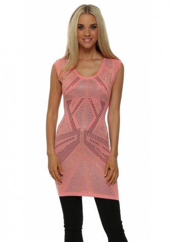 Laetitia Mem Coral Studded Sleeveless Tunic Jumper