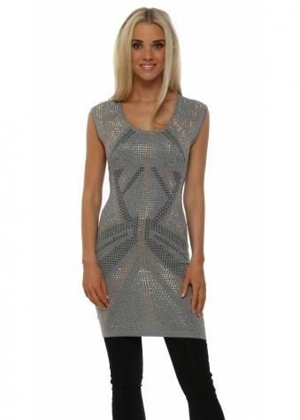 Laetitia Mem Grey Studded Sleeveless Tunic Jumper