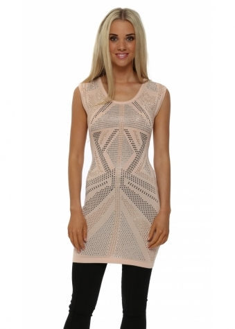 Nude Studded Sleeveless Tunic Jumper