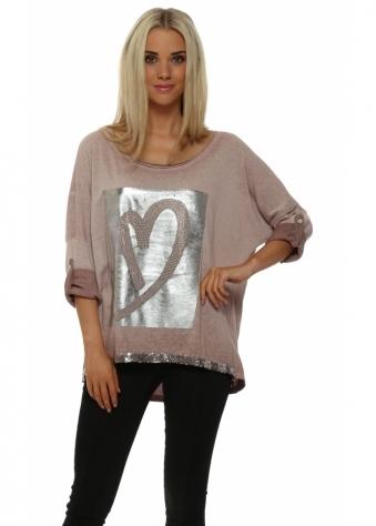 Pinka Dusky Pink Silver Foil Heart Sweater