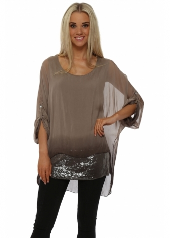 Taupe Ombre Silk Sequinned Tunic Top