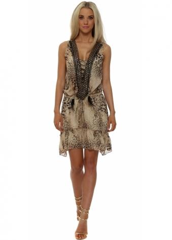 Just M Paris Oeillet Leopard Print Sleeveless Tunic Dress