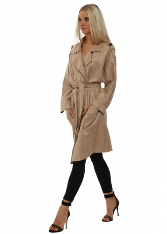 L'Olive Verte Soft Beige Suede Trench Mac Coat