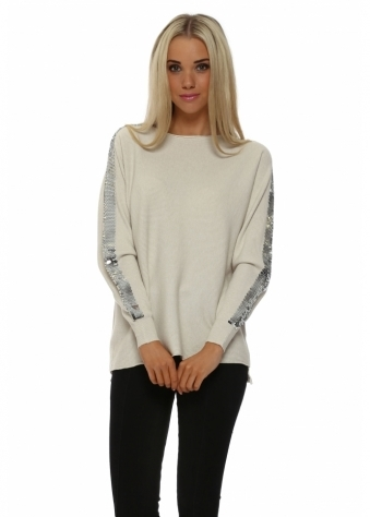 Laetitia Mem Cream Ribbed Sequinned Arm Jumper