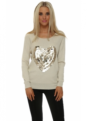 Cream Lurex Tonal Sequinned Heart Jumper