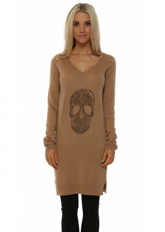 French Boutique Tan Cashmere Mix Skull Tunic Jumper