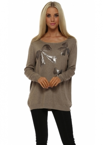 JS Millenium Taupe Three Sequinned Bows & Pearl Jumper
