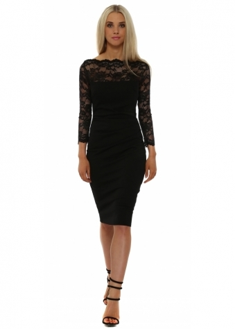 Goddess London Scalloped Lace Bodice Black Pencil Dress