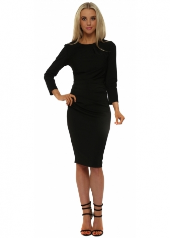 Black Ruched Long Sleeve Pencil Dress