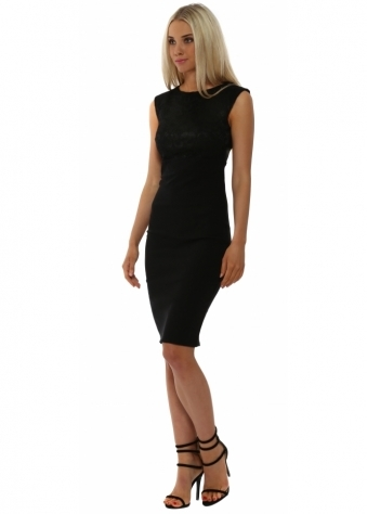 Black Lace Bodice Sleeveless Pencil Dress