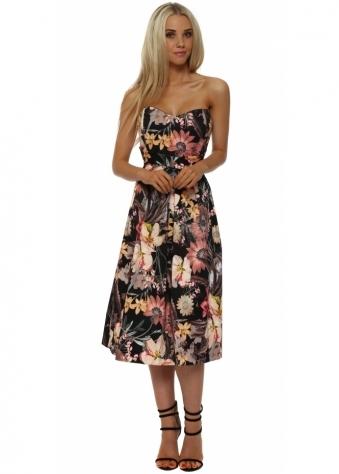 Floral Print Bustier Midi Dress