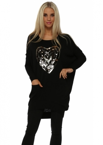 Black Sequinned Heart Oversized Jumper