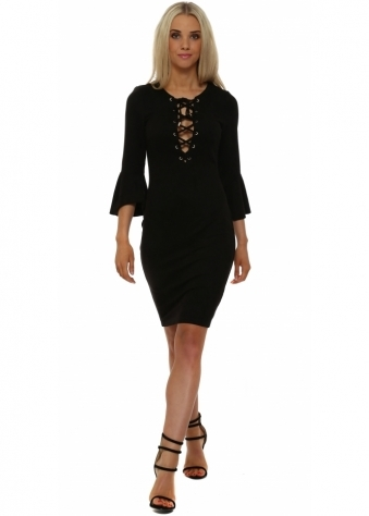 French Boutique Black Suede Ruffle Sleeve Dress