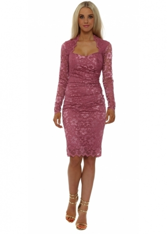 Long Sleeved Dusky Pink Lace Pencil Dress