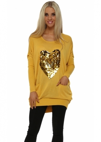 Mustard Sequinned Heart Oversized Jumper