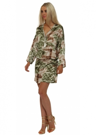 Just M Paris Green Print Tie Side Zip Neck Tunic Dress