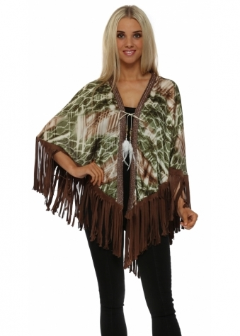 Just M Paris Green Print Satin Cape With Suede Tassels