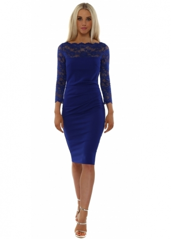 Goddess London Scalloped Lace Coablt Blue Pencil Dress