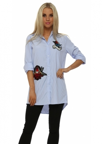Blue Pinstripe Embroidered Motif Shirt
