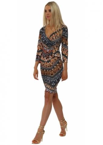 Rinascimento Blue Aztec Print Wrap Over Dress