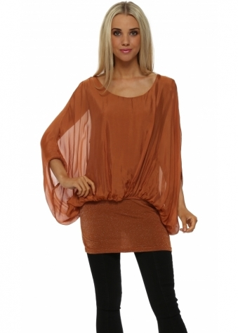 French Boutique Rust Lurex Tunic Silk Top