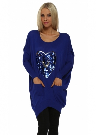 JS Millenium Cobalt Blue Sequinned Heart Oversized Jumper