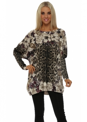 Brown Leopard Floral Crystal Embellished Jumper