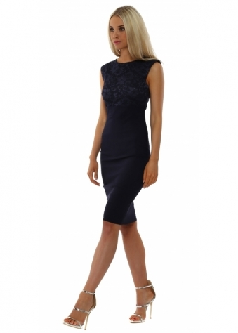Navy Lace Bodice Sleeveless Pencil Dress