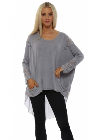 A Postcard From Brighton Tammy Pearl Mesh & Lace Dip Hem Top
