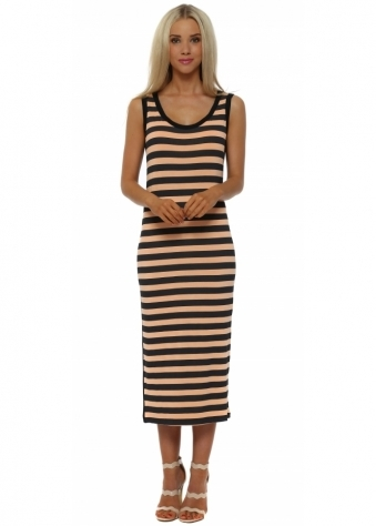 Sasha Orange Ice Sea Stripe Sleeveless Midi Dress