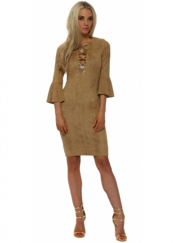 French Boutique Beige Suede Ruffle Sleeve Tie Neck Dress