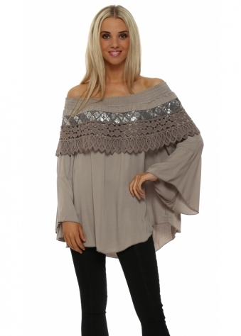 French Boutique Taupe Sequinned Off The Shoulder Top