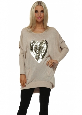 Beige Sequinned Heart Oversized Jumper