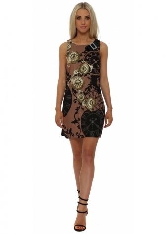 Brown Clock Print Mini Shift Dress
