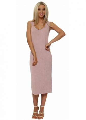 Nancy Coral Melange Jersey Midi Dress