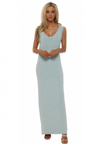 Aqua Melange Stretch Jersey Maxi Dress