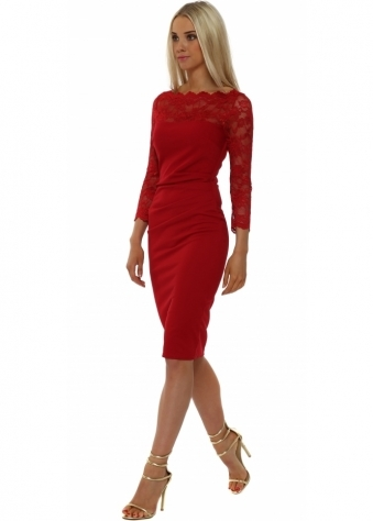 Goddess London Scalloped Lace Bordeaux Pencil Dress