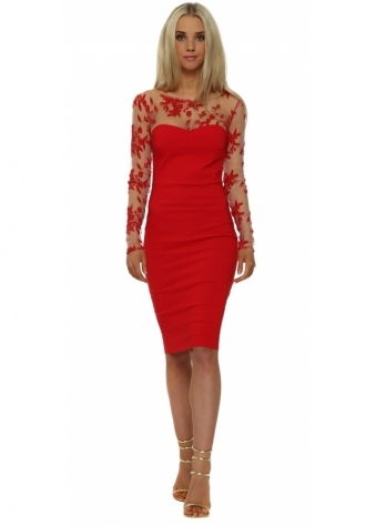 Red Floral Mesh Detail Pencil Dress
