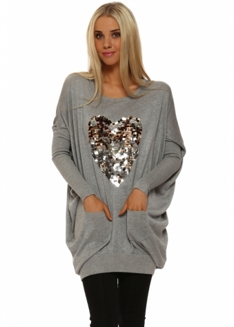 JS Millenium Grey Sequinned Heart Oversized Jumper