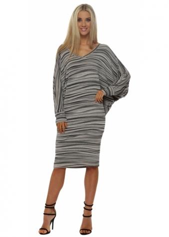 Vickie Veiled Mist V Neck Midi Dress In Seashell