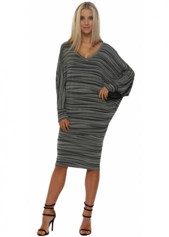 Vickie Veiled Mist V Neck Midi Dress In Smokey