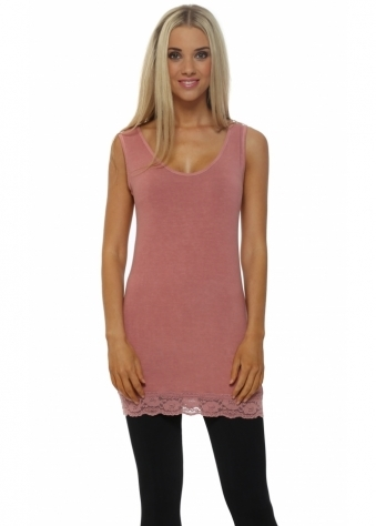 A Postcard From Brighton Suzee Lace Hem Short Vest In Rose Dust