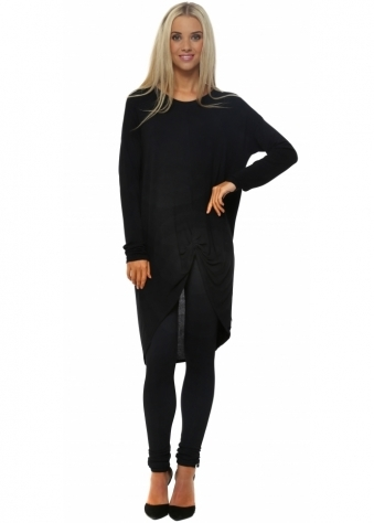 A Postcard From Brighton Black Frankie Knotted Front Slouch Top