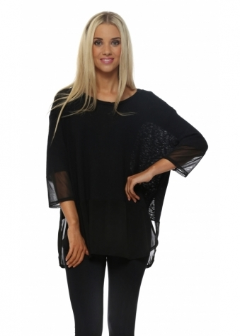 A Postcard From Brighton Renee Rachel Slub Chiffon Jumper In Black