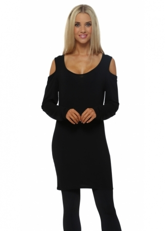 A Postcard From Brighton Coldie Black Long Sleeve Cold Shoulder Top