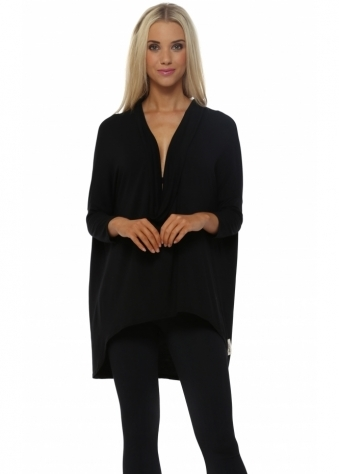 A Postcard From Brighton Black Flaunty Cowl Neck Tunic Top