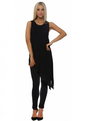 A Postcard From Brighton Sophie Black Asymmetric Sleeveless Long Vest
