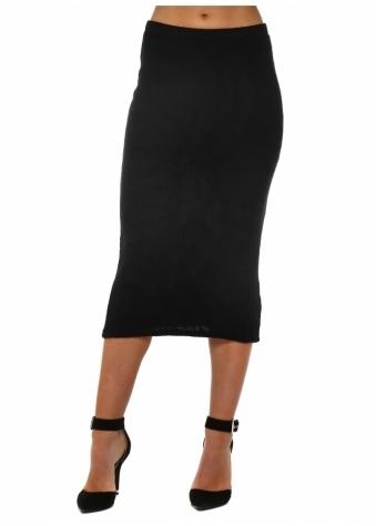 Reese Slub Rib Midi Skirt In Black