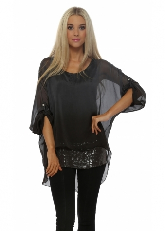 Pinka Graphite Ombre Silk Sequinned Tunic Top