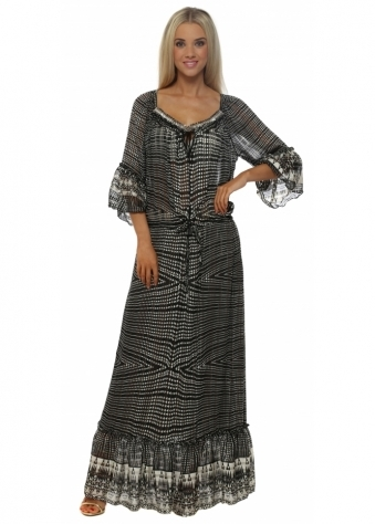 My Story Monochrome Print Floaty Chiffon Maxi Dress